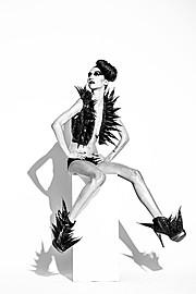 Albane Carrel model (modèle), Romain Thevenin fashion designer (créateur). Photoshoot of model Albane Carrel demonstrating Fashion Modeling.Caroline Dumouchel PhotographeSefedine Allaoua Make-Up Artist/ Hair StylistRomain Thevenin StylistFashion Mo