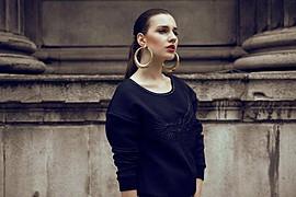Aleksandra Klima model. Photoshoot of model Aleksandra Klima demonstrating Face Modeling.EarringsFace Modeling Photo #93556