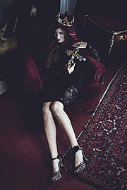 Alessandra Velia model (modèle). Alessandra Velia demonstrating Fashion Modeling, in a photoshoot by Vincent Bourilhon.==Esprit XVIIIème magazine 04/14==Photographer : Vincent Bourilhon Make up : Yvonne MuaHair : Marcos Ponce de León Dress from Le
