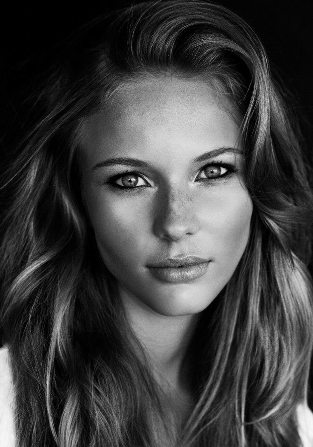 Black and white model face
