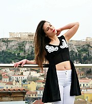 Chrysa Kekakou model (μοντέλο). Photoshoot of model Chrysa Kekakou demonstrating Fashion Modeling.Photo-shoot in the  our roofgarden  in Plaka of Athens. This photo was taken by Aris Gravias for the fashion collection of the Eridesign. The model is