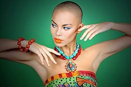 Dorka Banki model. Photoshoot of model Dorka Banki demonstrating Face Modeling.NecklaceFace Modeling Photo #75361