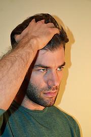 George Mitronikas model (μοντέλο). Photoshoot of model George Mitronikas demonstrating Face Modeling.Face Modeling Photo #193662