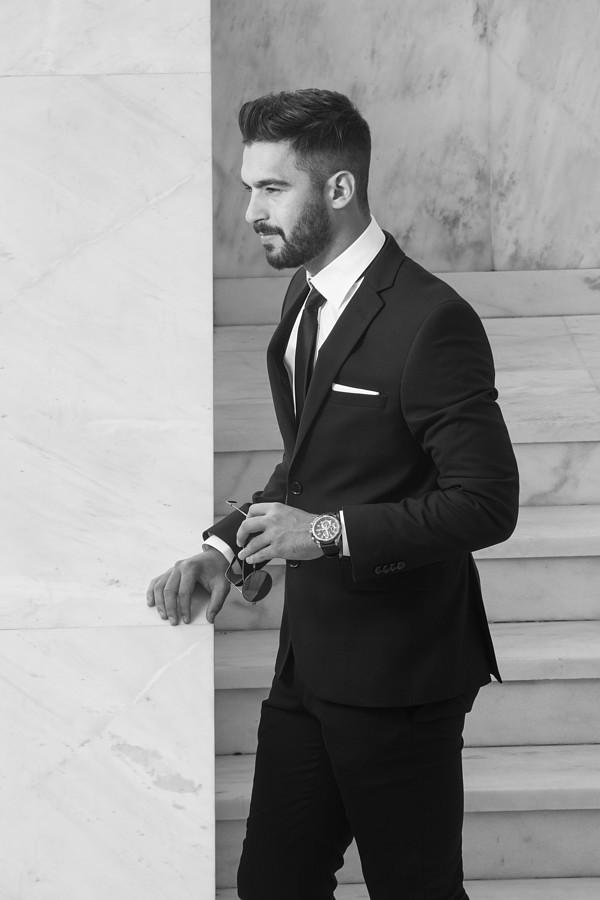 Giorgos Klouvatos model (μοντέλο). Photoshoot of model Giorgos Klouvatos demonstrating Fashion Modeling.SuitFashion Modeling Photo #189719