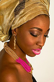 Imara Miller model. Photoshoot of model Imara Miller demonstrating Face Modeling.Necklace,EarringsFace Modeling Photo #94552