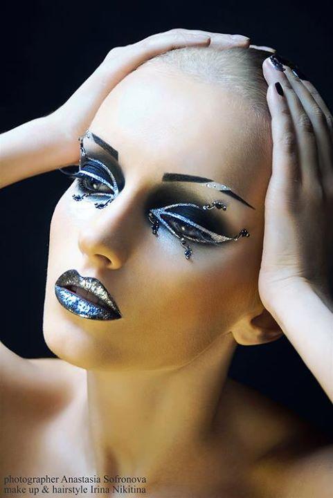 Irina Nikitina makeup artist & model (визажист & модель). Work by makeup artist Irina Nikitina demonstrating Creative Makeup.Creative Makeup Photo #68982