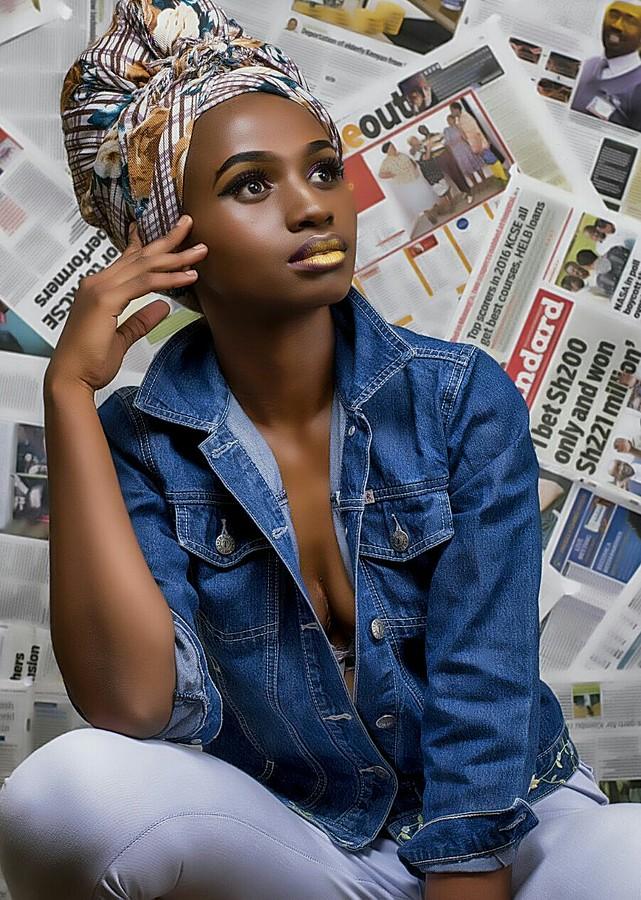 Jacinta Mungai model. Photoshoot of model Jacinta Mungai demonstrating Fashion Modeling.photographer: Livingstone Ochienglocation: EmbakasiEyelash Extensions,Head ScarfFashion Photography,Fashion Modeling,Creative Makeup Photo #185487