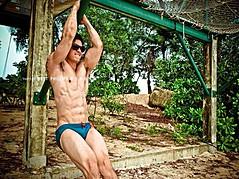 Jason Chee fitness model. Photoshoot of model Jason Chee demonstrating Body Modeling.Body Modeling Photo #103456