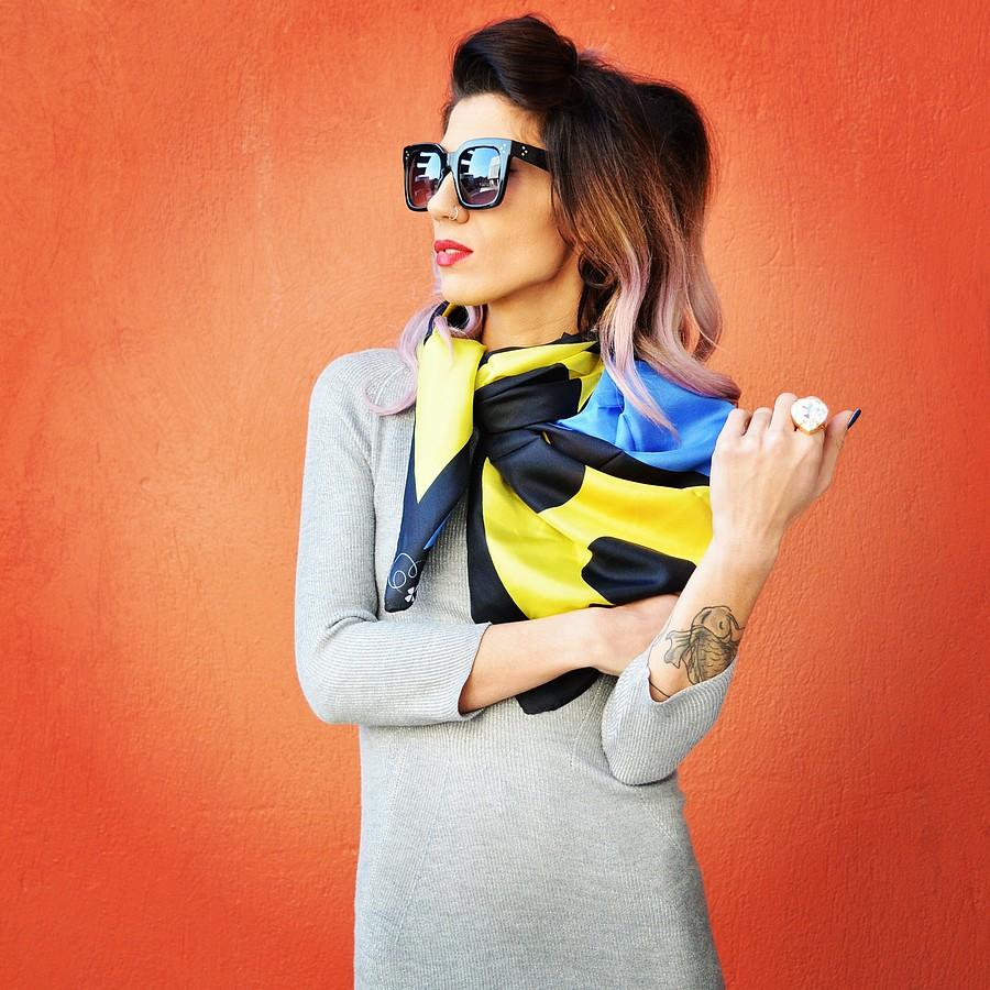 Katerina Apostolopoulou model (μοντέλο). Photoshoot of model Katerina Apostolopoulou demonstrating Fashion Modeling.Eyewear,ScarfFashion Modeling Photo #166956