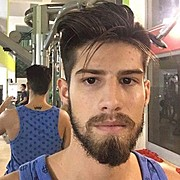 Kostas Karipis model (модел). Photoshoot of model Kostas Karipis demonstrating Face Modeling.Face Modeling Photo #178591