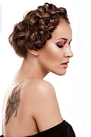 Ksenia Korneychuk model & fashion designer (Ксения Корнейчук модель & модельер). Photoshoot of model Ksenia Korneychuk demonstrating Face Modeling.Face Modeling Photo #104193