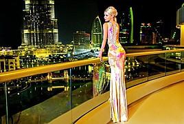 Lenka Josefiova (Lenka Josefiová) model. Photoshoot of model Lenka Josefiova demonstrating Editorial Modeling.Face of Vero Milano Fashion Lenka Josefiova in pink evening gown at the new Vero Milano campaign - at The Address Downtown DubaiEditorial