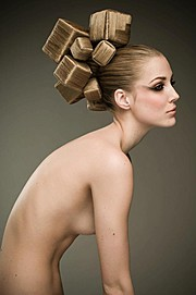 Camilla Jonsson (Camilla Jönsson) hair stylist, Leonard Gren photographer. Work by photographer Leonard Gren demonstrating Portrait Photography.Leonard GrenTop Knot BunPortrait Photography,Creative Hair Styling Photo #56230