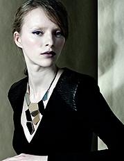 Maria Kononevskaya model. Photoshoot of model Maria Kononevskaya demonstrating Face Modeling.NecklaceFace Modeling Photo #97115