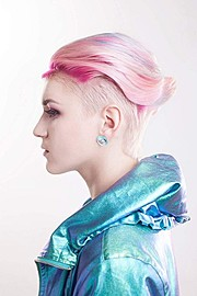 Marina Bondarevska model (μοντέλο). Photoshoot of model Marina Bondarevska demonstrating Face Modeling.Earrings,Hair ColoringFace Modeling Photo #165972