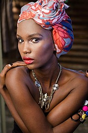 Maureen Nduta model. Photoshoot of model Maureen Nduta demonstrating Editorial Modeling.Head Scarf,UpdoEditorial Modeling Photo #168947