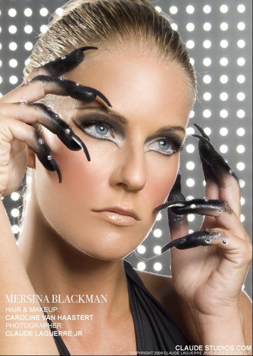 Mersina Blackman model. Mersina Blackman demonstrating Face Modeling, in a photoshoot with Makeup done by Caroline Van Haastert.Makeup: Caroline Van HaastertFace Modeling Photo #102394