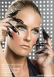 Mersina Blackman model. Mersina Blackman demonstrating Face Modeling, in a photoshoot with Makeup done by Caroline Van Haastert.Face Modeling Photo #102394