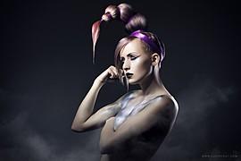 Michaela Valent model (modelka). Photoshoot of model Michaela Valent demonstrating Face Modeling.Top Knot BunFace Modeling Photo #89023