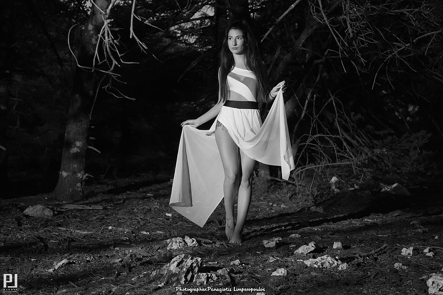 "Panagiotis Lymperopoulos (Παναγιώτης Λυμπερόπουλος) fashion photographer. Photoshoot of model Katerina demonstrating Fashion Modeling.""The Black Forest"" ProjectPhoto-Edit-Retouch by:Panagiotis LimperopoulosModel:Katerina Photographer Assistant:Niko"