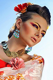 Sha Shamsi makeup artist. Work by makeup artist Sha Shamsi demonstrating Beauty Makeup in a photoshoot by Benny Tan.Photographer Benny TanNecklace,EarringsBeauty Makeup Photo #71985