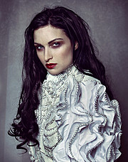 Susanna Andersen model. Photoshoot of model Susanna Andersen demonstrating Face Modeling.Dress by Agnieszka OsipaFace Modeling Photo #98455