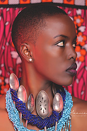 Winnie Wanja model. Photoshoot of model Winnie Wanja demonstrating Face Modeling.Airbrush,NecklaceFace Modeling Photo #171696