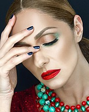 Yiannis Kasimis makeup artist (μακιγιέρ). Work by makeup artist Yiannis Kasimis demonstrating Beauty Makeup in a photoshoot of Vicky Koulianou.model Vicky KoulianouBeauty Makeup Photo #113299